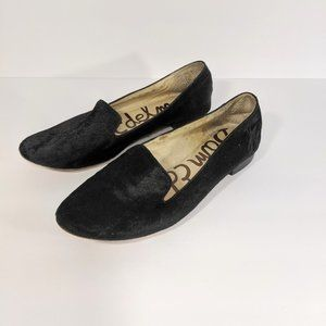 Sam Edelman Black Leather Horsehair Flats